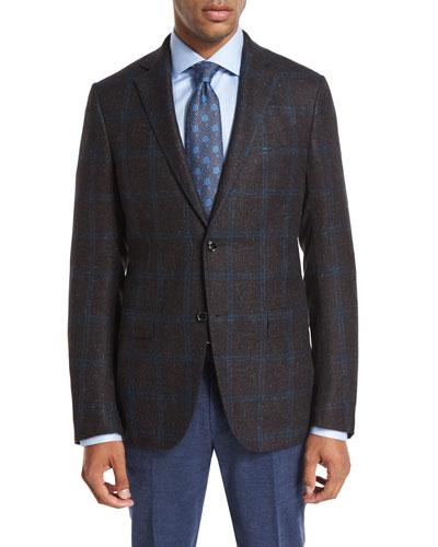 Double Windowpane Check Sport Coat, Black/Burgundy