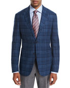 Plaid Wool-Cashmere Sport Coat, Teal/Blue