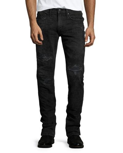 Brenner Slim-Fit Distressed Jeans, Black