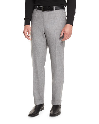 Super 150s Flannel Flat-Front Trousers, Light Gray