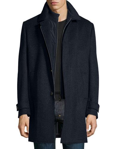 Check Wool Car Coat, Blue