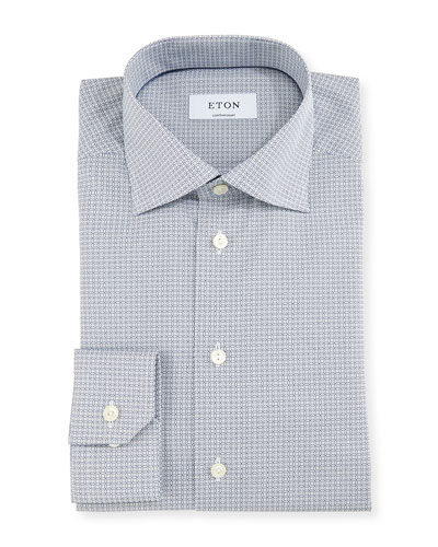 Contemporary-Fit Geo-Print Dress Shirt, White/Navy