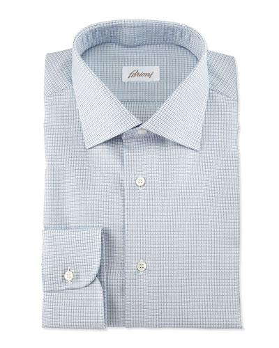 Textured-Check Long-Sleeve Dress Shirt, Light Blue