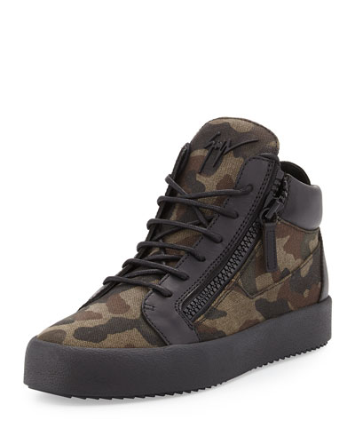 Men's Camo-Print Canvas Mid-Top Sneaker