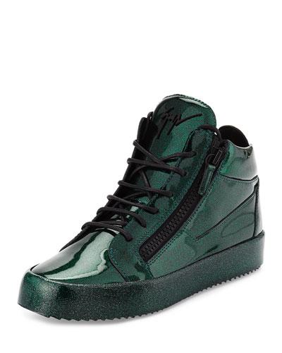 Men's Glitter Leather Mid-Top Sneaker, Green