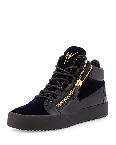 Men's Velvet & Patent Leather Mid-Top Sneaker