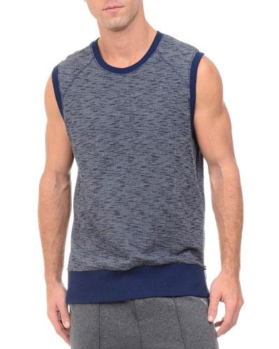 Side-Zip Sleeveless Marled Muscle Sweatshirt