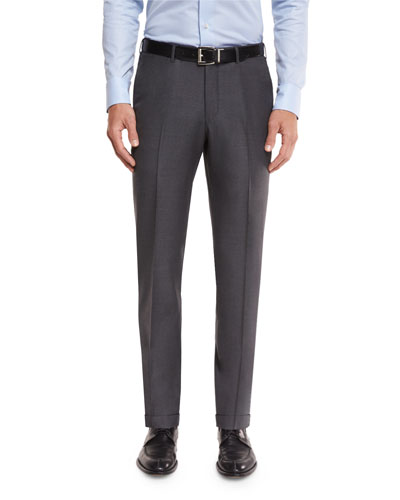 Twill Trofeo Wool Flat-Front Trousers, Gray
