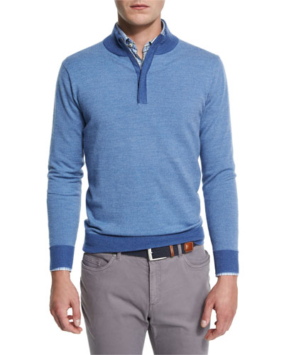 Sueded-Trim Quarter-Zip Sweater, Hawaiian Blue