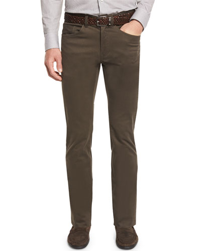 Bedford Five-Pocket Stretch-Cotton Pants, Olive