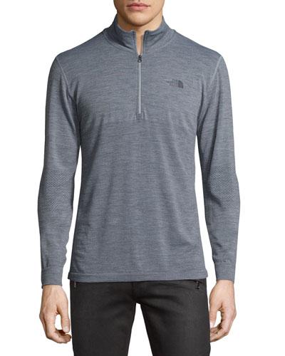 Wool-Blend Quarter-Zip Hiking Pullover, Dark Gray