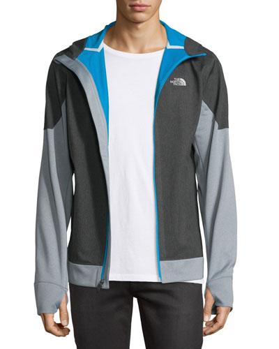 Kilowatt Front-Zip Hooded Jacket, Dark Gray