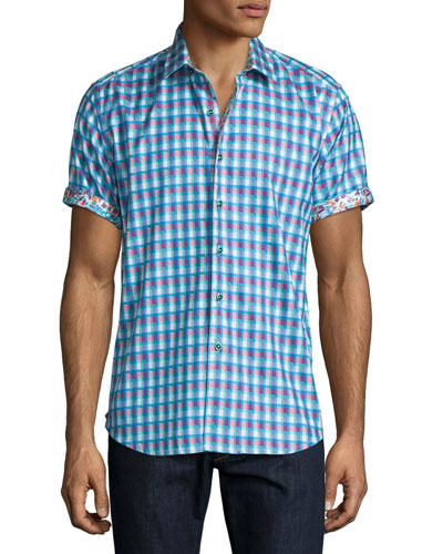 Randsburg Printed Short-Sleeve Sport Shirt, Berry