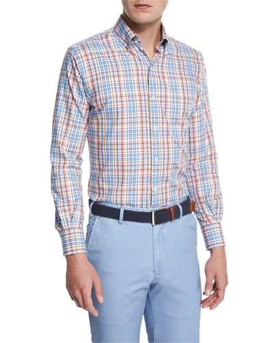 Melange Plaid Long-Sleeve Sport Shirt