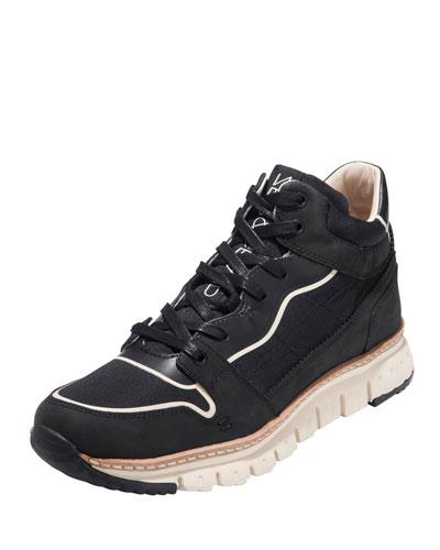 ZeroGrand™ Sport Leather & Nylon Midboot Sneaker, Black