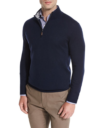 Merino Quarter-Zip Sweater, Navy