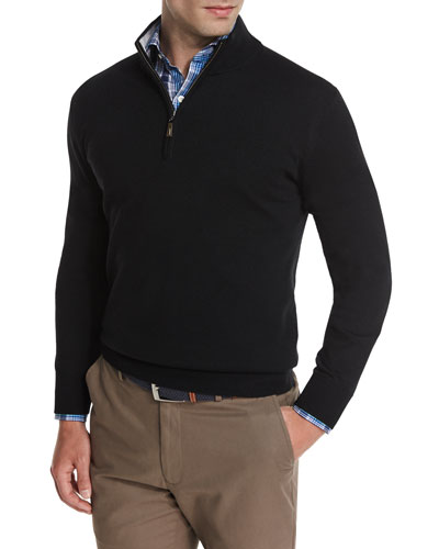 Merino Quarter-Zip Sweater, Black