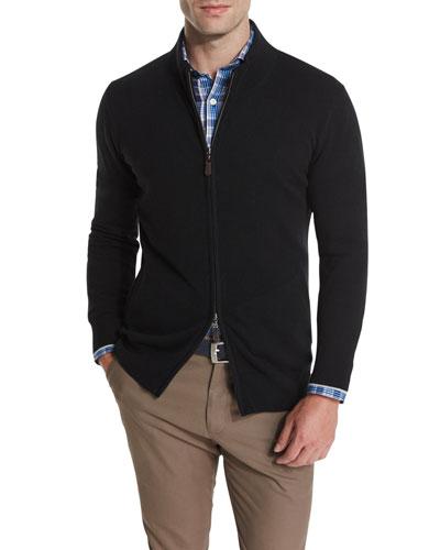 Cashmere Two-Way Front-Zip Jacket, Black