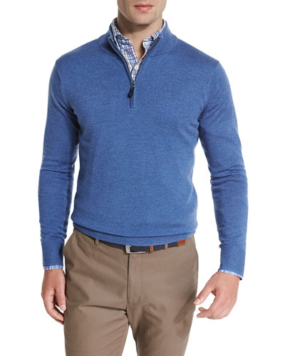 Merino Quarter-Zip Sweater, Hawaiian Blue
