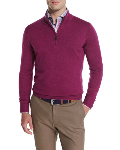 Merino Quarter-Zip Sweater, Raspberry