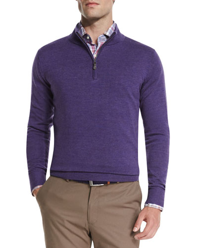Merino Quarter-Zip Sweater, Snapdragon