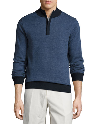 Sueded-Trim Quarter-Zip Sweater, Navy