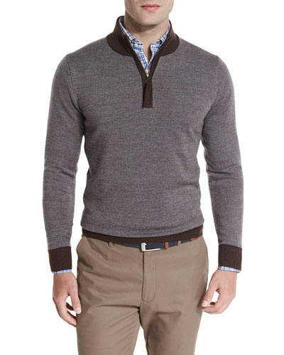 Sueded-Trim Quarter-Zip Sweater, Bison
