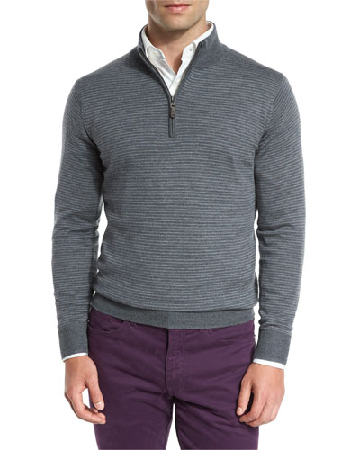 Striped Quarter-Zip Sweater, Charcoal