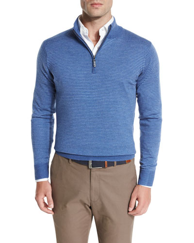 Striped Wool Quarter-Zip Sweater, Hawaiian Blue