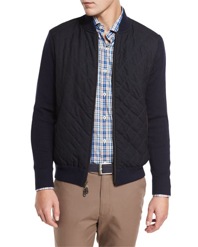 Quilted Wool-Cotton Bomber Jacket, Navy