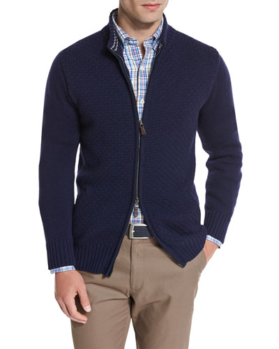 Full-Zip Textured Sweater, Navy