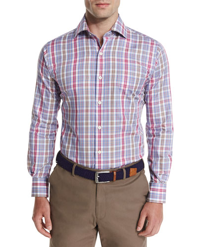 Herron Plaid Oxford Shirt, Pomegranate