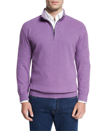 Melange Fleece Quarter-Zip Sweater, Snapdragon