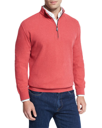Melange Fleece Quarter-Zip Sweater, Redbreast