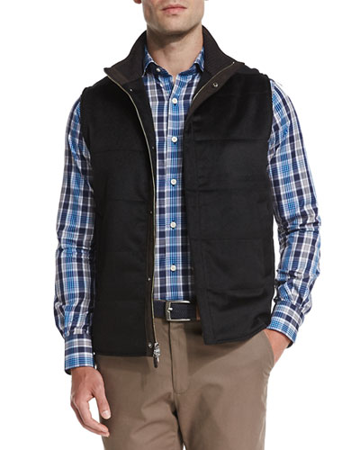 Greenwich Wool-Cashmere Quilted Vest, Black