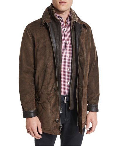 Steamboat Leather Jacket with Fur Lining