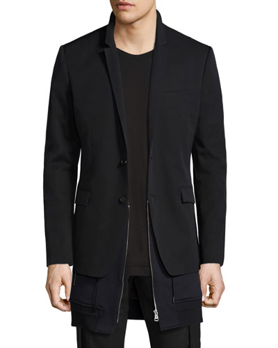 Double-Layer Wool Blazer, Black