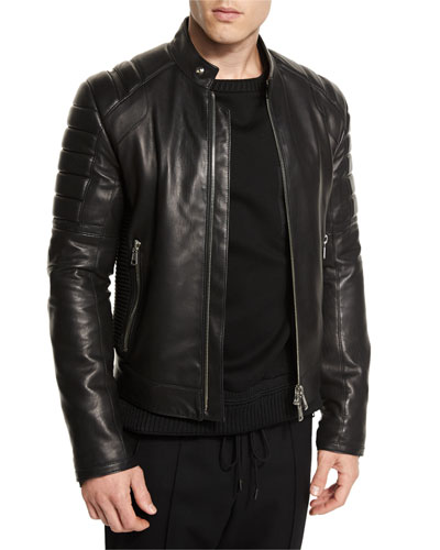 Leather Quilted-Panel Moto Jacket