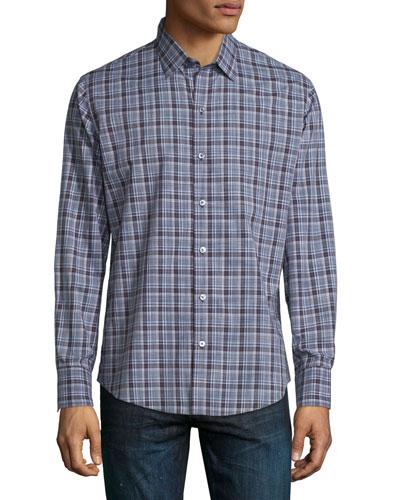 Plaid Long-Sleeve Sport Shirt