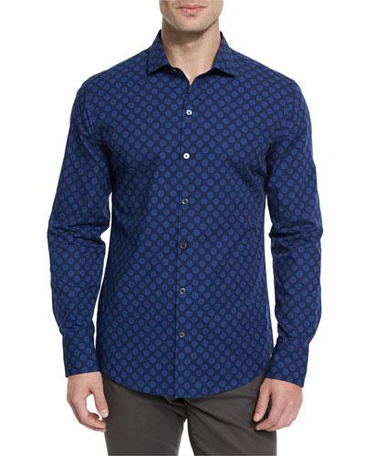 Medallion-Pattern Long-Sleeve Sport Shirt