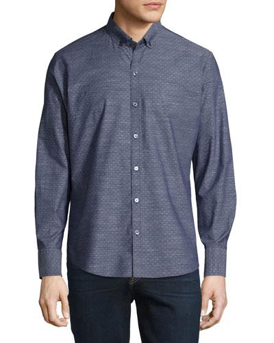 Dobby-Print Long-Sleeve Sport Shirt