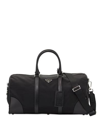 Men's Nylon & Saffiano Duffel Bag, Black (Nero)