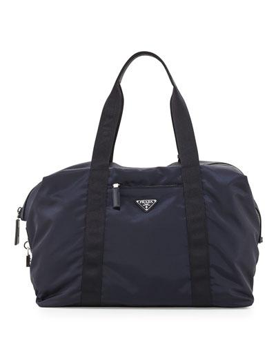 Men's Nylon & Saffiano Duffel Bag, Blue