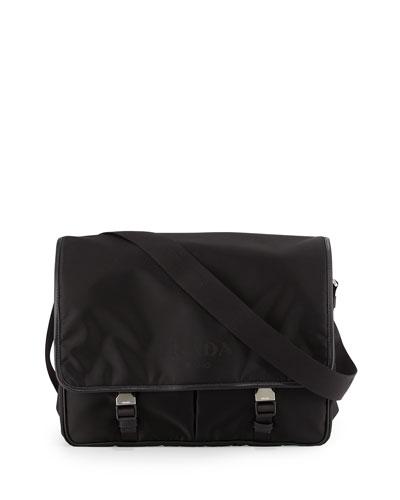 Large Nylon Messenger Bag, Black