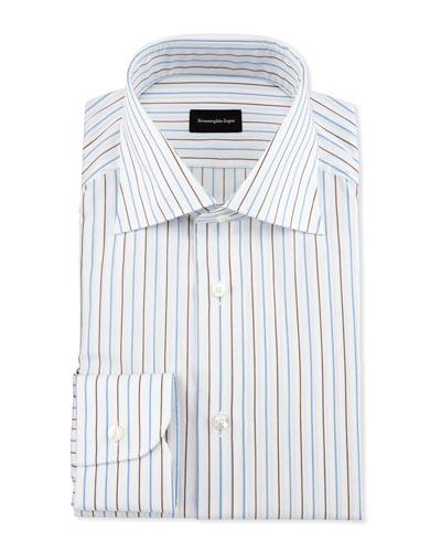 Alternating Striped Dress Shirt, Light Blue