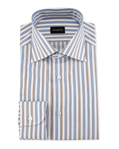 Bold Multicolored Striped Dress Shirt, Blue