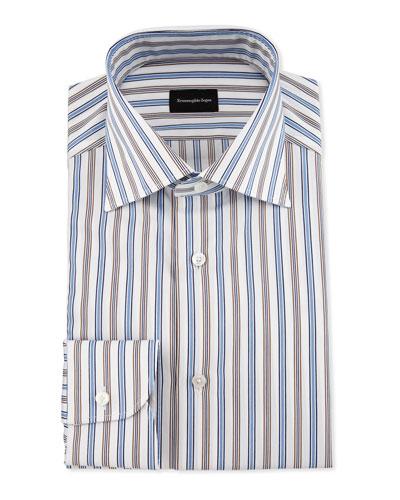 Bold Multicolored Striped Dress Shirt, Blue