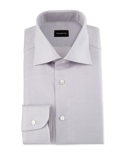 Diagonal-Stripe Twill Dress Shirt, Pink