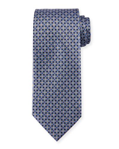 Medallion-Print Neat Silk Tie