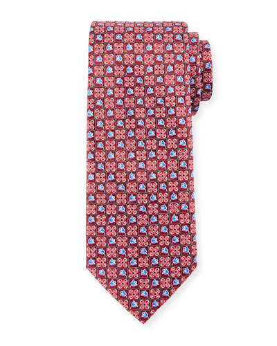 Boxed Flower-Print Silk Tie